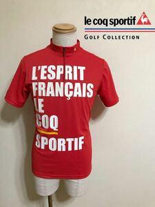 【美品】 le coq sportif GOLF ルコック ゴルフ ハーフジップ ウェア トップス レッド サイズM 半袖 赤 QG2570 デサント