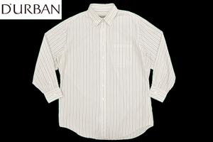 Y-0983★送料無料★D'URBAN ダーバン★ホワイト白色 ストライプ 長袖 ドレス ワイ シャツ M 相当