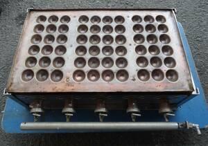 K9657b 業務用 明石焼き器 銅板 60穴 LPガス? 銅板計3枚 屋台 店舗 たこ焼き