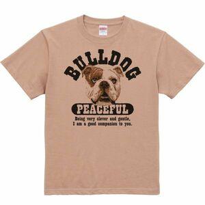 優しいブルドッグ/半袖Tシャツ/メンズL/コーラルベージュ・新品・メール便 送料無料