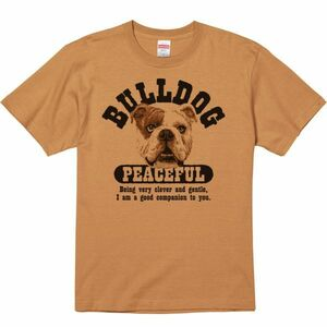 優しいブルドッグ/半袖Tシャツ/メンズL/ キャメル・新品・メール便 送料無料