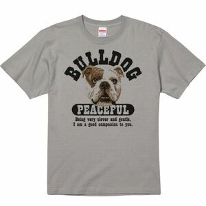 優しいブルドッグ/半袖Tシャツ/メンズS/ストーングレー・新品・メール便 送料無料