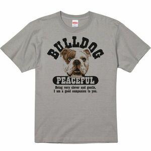 優しいブルドッグ/半袖Tシャツ/メンズM/ストーングレー・新品・メール便 送料無料