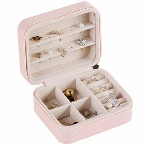 新品未使用・ピンク★レーザージュエリーボックス アクセサリーケース 小物入れ コンパクト 指輪 ピアス ネックレス収納 ブレスレット