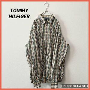 トミーヒルフィガー シャツ 長袖 BDシャツ チェック XL 刺繍ロゴ オーバーサイズ 大きいサイズ TOMMY HILFIGER ボタンダウンシャツ
