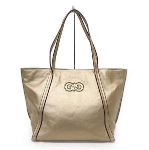 COLE HAAN/コールハーン トートバッグ 肩掛けバッグ ロゴマーク レザーバッグ ゴールドベージュ 良品