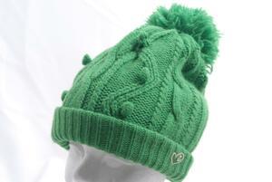 aday★パーリーゲイツ★ボンボン付きニット帽★緑★グリーン★FR★USED※レターパックプラス発送可★46133