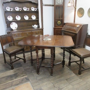 イギリス アンティーク 家具 ダイニングテーブル バタフライ ゲートレッグテーブル ツイストレッグ木製 英国 TABLE 6868b