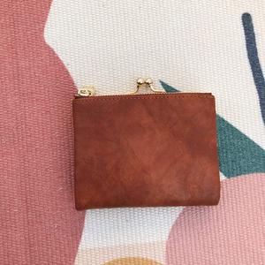 二つ折り財布 レディース 本革 ミニ財布 がま口 シンプルサイフ 小銭入れ コンパクト プレゼント ギフト 母の日-ブラウン