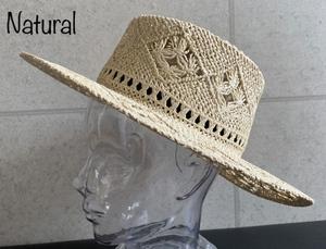 帽子 つば広 カンカン帽 透かし編 ポークパイ風 キャノチェ ストローハット 模様編み メンズ レディース 男女兼用 サイズ調整可能