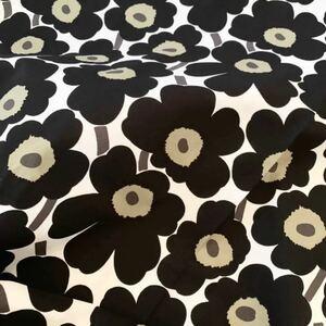 新品★marimekko はぎれ 生地 ミニウニッコ 30×72cm 黒 白 mini unikko ブラック ホワイト 布 花柄