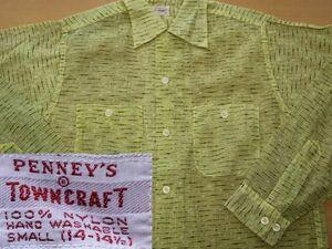 50S PENNEY'S TOWNCRAFT ビンテージ ペニーズ タウンクラフト オープンカラー シャツ small USA製 S 虎 タイガー ストライプ// ロカビリー