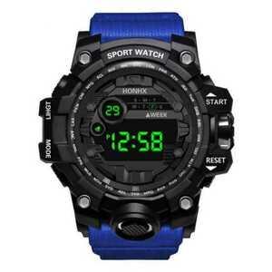 【即納】新品 送料無料 海外 HONHX 腕時計デジタル 多機能 LED ブラック×ブルー