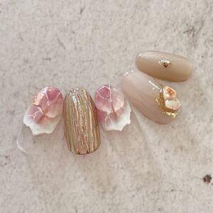 ネイルチップ ニュアンスネイル くすみネイル モヤモヤネイル ミラーネイル 成人式 卒業式 袴 和装 大理石 ピンク
