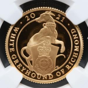 【最高鑑定!】2021年 イギリス クイーンズビースト グレイハウンド 25ポンド プルーフ 金貨 NGC PF70 UC 専用BOX付 アンティークコイン