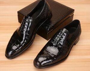 ☆ワニ革 メンズシューズ 紳士靴 ビジネスシューズ スリッポン 皮靴 24~27cm レザー ローファー カジュアルシューズ 幅広 男性 プレゼント