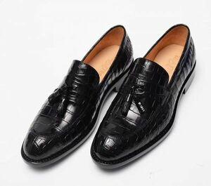☆ワニ革 メンズシューズ ビジネスシューズ 紳士靴 スリッポン 皮靴 24~27cm ローファー レザー カジュアルシューズ 幅広 男性 プレゼント