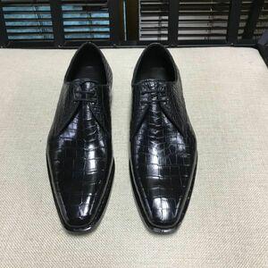 ワニ革 メンズシューズ 24~27cm スリッポン 紳士靴 レザー ビジネス靴 皮靴 モカシン ローファー カジュアルシューズ 幅広 男性 プレゼント