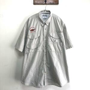 コロンビア PFG アウトドア フィッシングシャツ 半袖シャツ 刺繍シャツ トレッキング ワークシャツ メンズL Columbia ※汚れあり