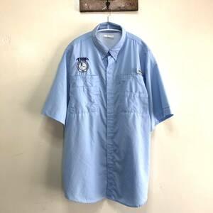 コロンビア PFG アウトドア フィッシングシャツ 半袖シャツ 刺繍ロゴ トレッキング ワークシャツ メンズL Columbia USA アメリカ古着