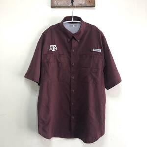 コロンビア PFG アウトドア フィッシングシャツ 半袖シャツ テキサスA&M大学 カレッジ 刺繍ロゴ クシャツ メンズS程度 Columbia