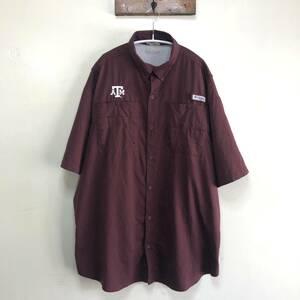 コロンビア PFG アウトドア フィッシングシャツ 半袖シャツ テキサスA&M大学 刺繍ロゴ トレッキング ワークシャツ メンズXL程度 Columbia