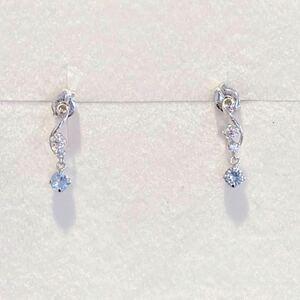 新品 正規品 4℃ ヨンドシー ピアス ダイヤモンド アクアマリン k10 ホワイトゴールド ケース紙袋リボン 箱 ゴールド ダイヤ プレゼント