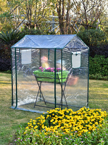 実用品★育苗用 小型 PVC素材 ビニールハウス 温室 ガーデンハウス 簡易温室 巻き上げ式 透明 家庭菜園 庭弄り 植木鉢