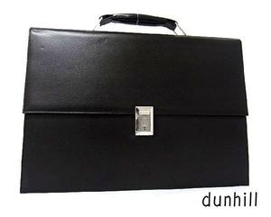 dunhill ダンヒル レザー シルバー金具 ハンドバッグ ビジネスバッグ ブリーフケース 書類かばん メンズ ブラック