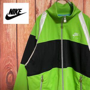 美品【NIKE】90s 刺繍ロゴ ライトグリーン トラックジャケット★