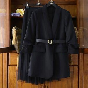 スーツ セットアップ レディース 2点セット フォーマル スーツジャケット スカート ロング 無地 チュール 春夏 薄手生地