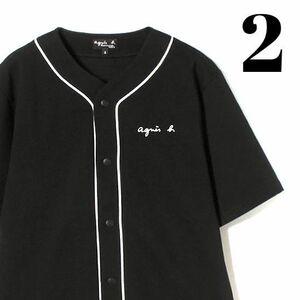 2 Black【agnes b. HOMME JEJ3 CHEMISE ベースボールシャツ アニエスベー オム ベースボールシャツ 黒 ブラック】