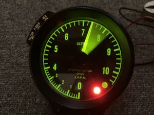 Ultra Nagai electron ste pin g motor electronic tachometer white character meter Tacho meter 2 color LED indicator switch built-in case