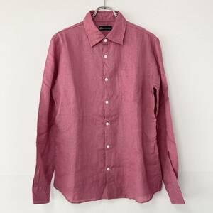 【未使用品 Zero BY TORNADO MART ゼロバイトルネードマート シワ加工長袖リネンシャツ】ピンク Lサイズ