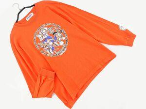 ネコポスOK CAPTAIN SANTA キャプテンサンタ プリント 長袖 Tシャツ sizeS/オレンジ ■◇ ☆ bdc8