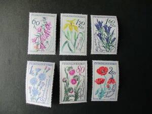 野の花ー這いベルフラワー他 6種完 未使用 1964年 チェコスロバキア共和国 VF/NH