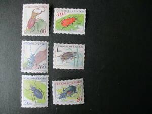 昆虫・カブトムシシリーズーグランド甲虫ほか 6種完 未使用 1962年 チェコスロバキア共和国 VF/NH