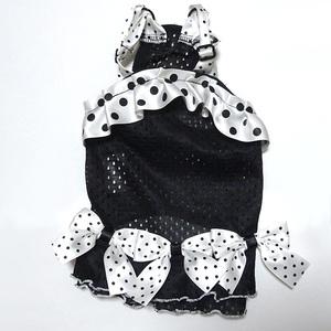 クークチュール クール×クールプラス 水玉リボンワンピース ブラック 黒 S 小型犬 チワワ トイプー パピー 夏用