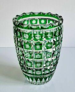 アンティーク フランス エメラルドグリーンクリスタル 花瓶、クリスタルナンシーAvecクロワ・ド・ロレーヌ