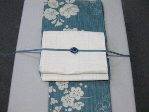 【セット売り】送料無料 大人のレディース浴衣 ブルー地・花柄浴衣-紗京袋