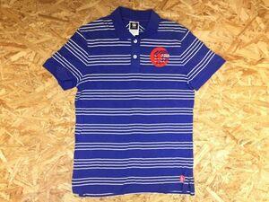 ジースターロゥ G-STAR RAW スポーツ パターンボーダー ロゴプリント 半袖ポロシャツ メンズ コットン100% M 青