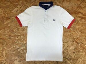 フレッドペリー FRED PERRY トラッド スポーツ 刺繍 鹿の子 半袖ポロシャツ メンズ スリムフィット コットン100% XS 白