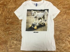 H&M エイチアンドエム アメカジ ストリート 犬 ドッグ スケボー スケート 半袖Tシャツ レディース フォトプリント S 白