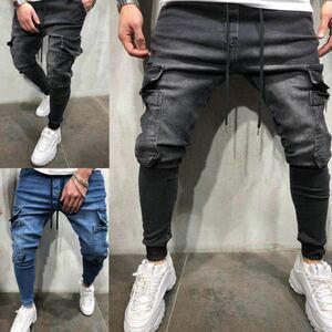 ジョガーパンツ ポケット付き デニム テーパードパンツ ボトムス スキニー ジーンズ メンズ レディース ブルー ブラック 選べる