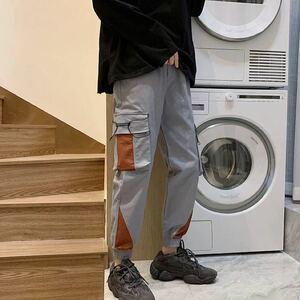 カーゴパンツ ジョガーパンツ ワークパンツ ボトムス テーパードパンツ パンツ メンズ レディース 原宿系 ストリート グレー 灰色 ズボン