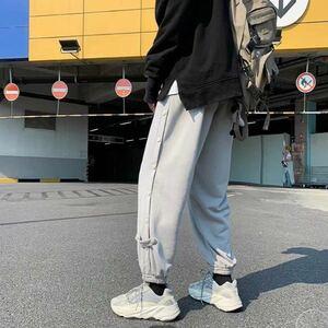 ジョガーパンツ テーパードパンツ サイドボタン ボトムス パンツ メンズ レディース 原宿系 ストリート 韓国系 グレー 灰色 L