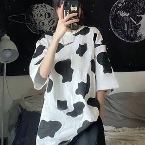 Tシャツ ビッグシルエット 半袖 トップス カウ柄 牛柄 ダルメシアン アニマル柄 シャツ レディース メンズ 原宿系 韓国系 オルチャン XL