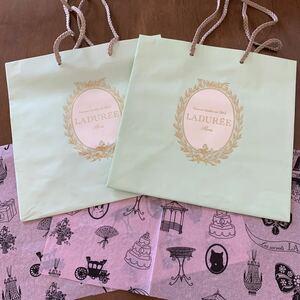 LADUREE ラデュレ フランス パリ店 紙袋 大サイズ 2枚 薄紙 2枚 手提げ袋 ペーパーバッグ ショッパー ラッピング ギフト プレゼント 美品