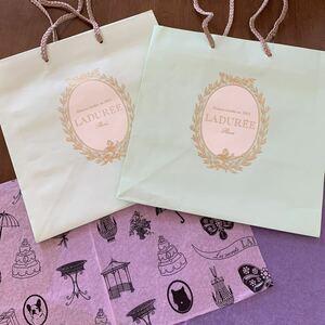 LADUREE ラデュレ フランス パリ店 紙袋 大サイズ 2枚 薄紙 2枚 手提げ袋 ペーパーバッグ ショッパー ラッピング ギフト プレゼント 新品