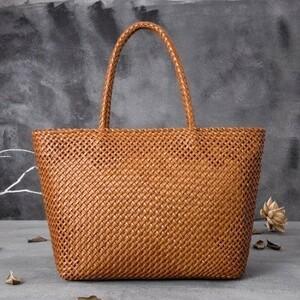 新着 高級 牛革 かごバッグ 籠 /手編み 内布付き トート 多機能 ハンドバッグ 新品